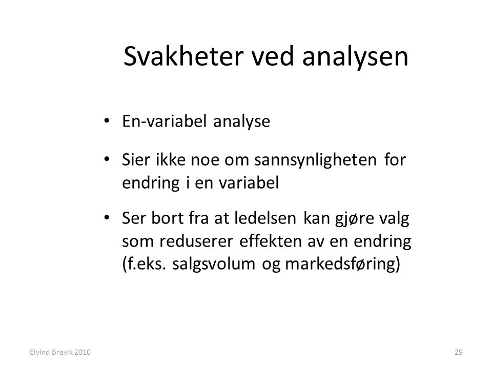 Svakheter ved analysen