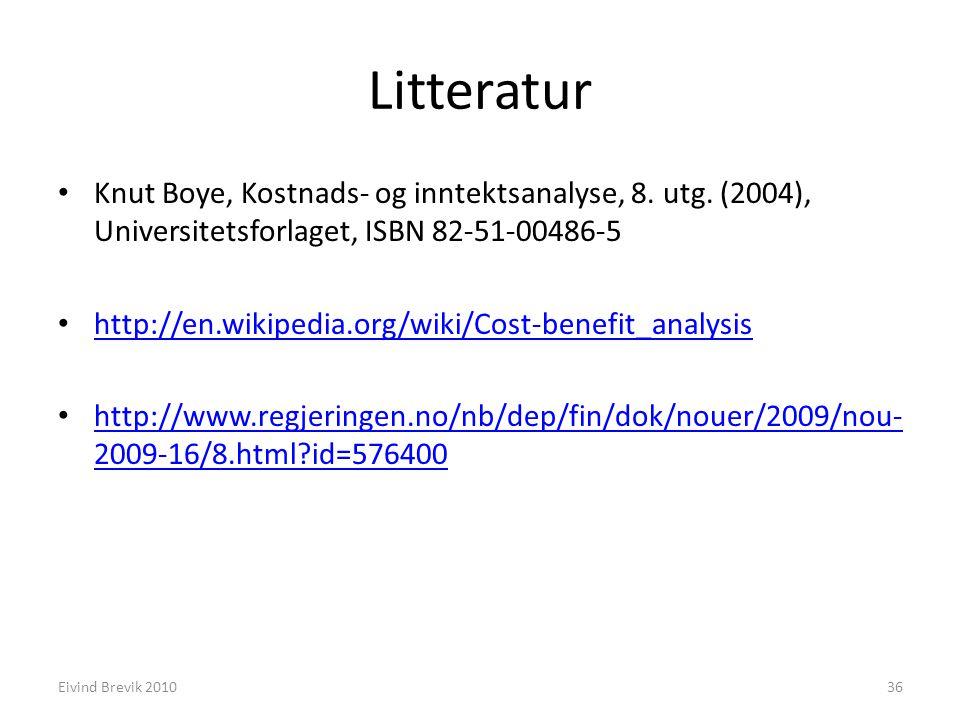 Litteratur Knut Boye, Kostnads- og inntektsanalyse, 8. utg. (2004), Universitetsforlaget, ISBN 82-51-00486-5.