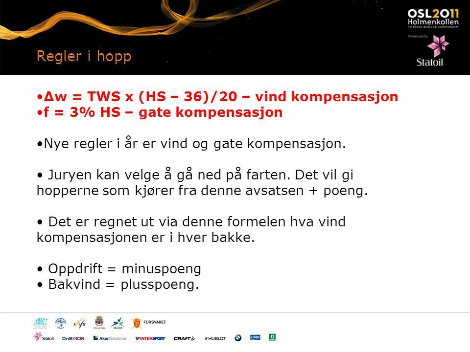Regler i hopp Δw = TWS x (HS – 36)/20 – vind kompensasjon