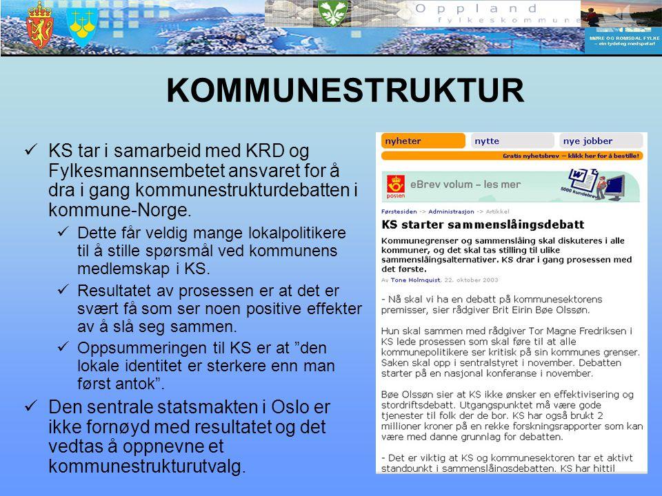 KOMMUNESTRUKTUR KS tar i samarbeid med KRD og Fylkesmannsembetet ansvaret for å dra i gang kommunestrukturdebatten i kommune-Norge.