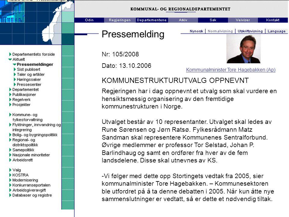 Pressemelding KOMMUNESTRUKTURUTVALG OPPNEVNT Nr: 105/2008