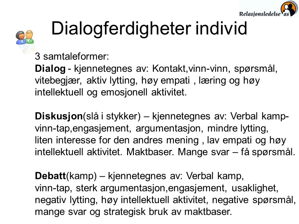 Dialogferdigheter individ