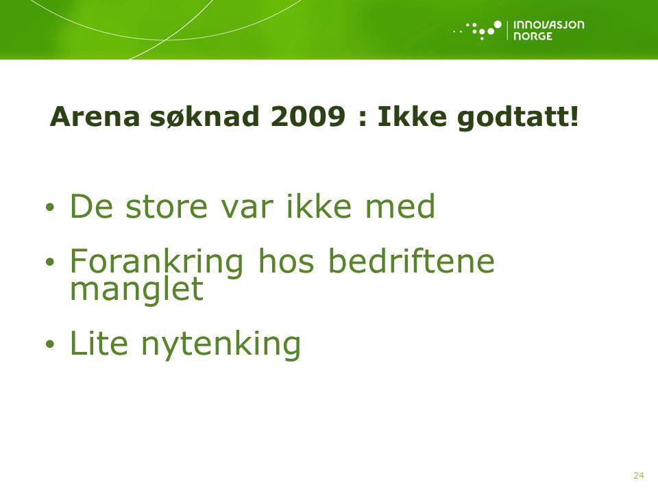 Arena søknad 2009 : Ikke godtatt!