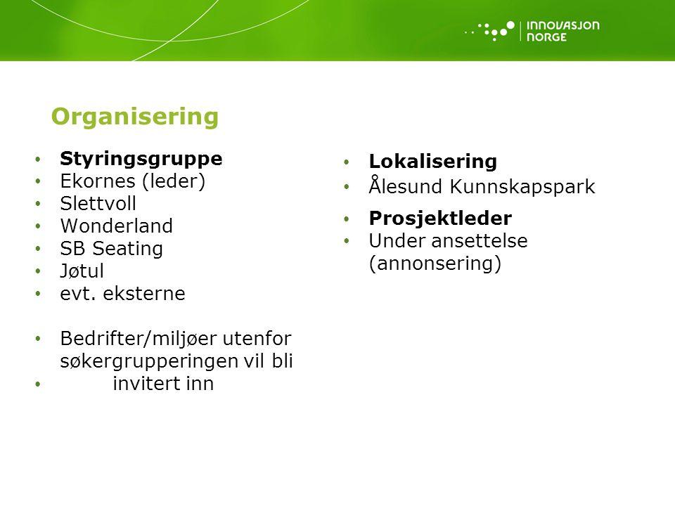 Organisering Styringsgruppe Ekornes (leder) Slettvoll Wonderland