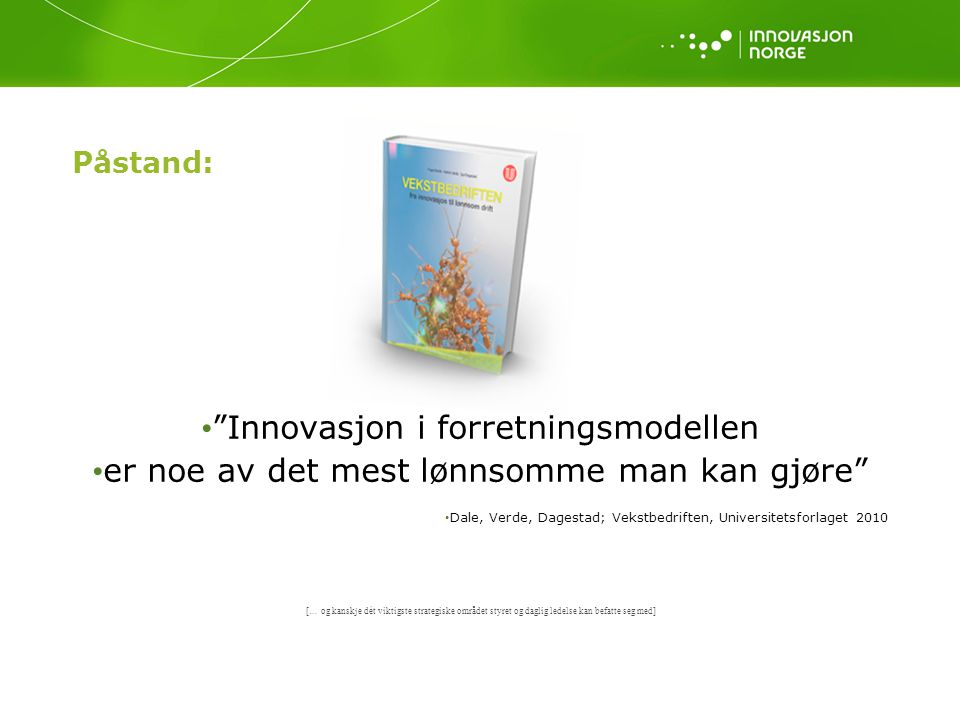 Innovasjon i forretningsmodellen