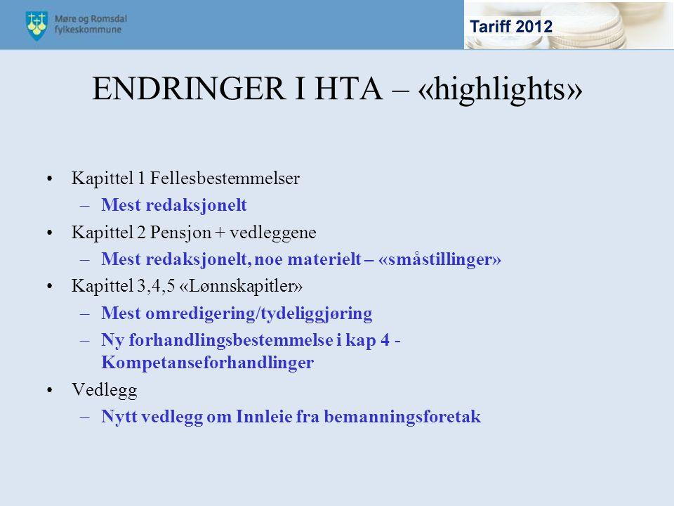 ENDRINGER I HTA – «highlights»