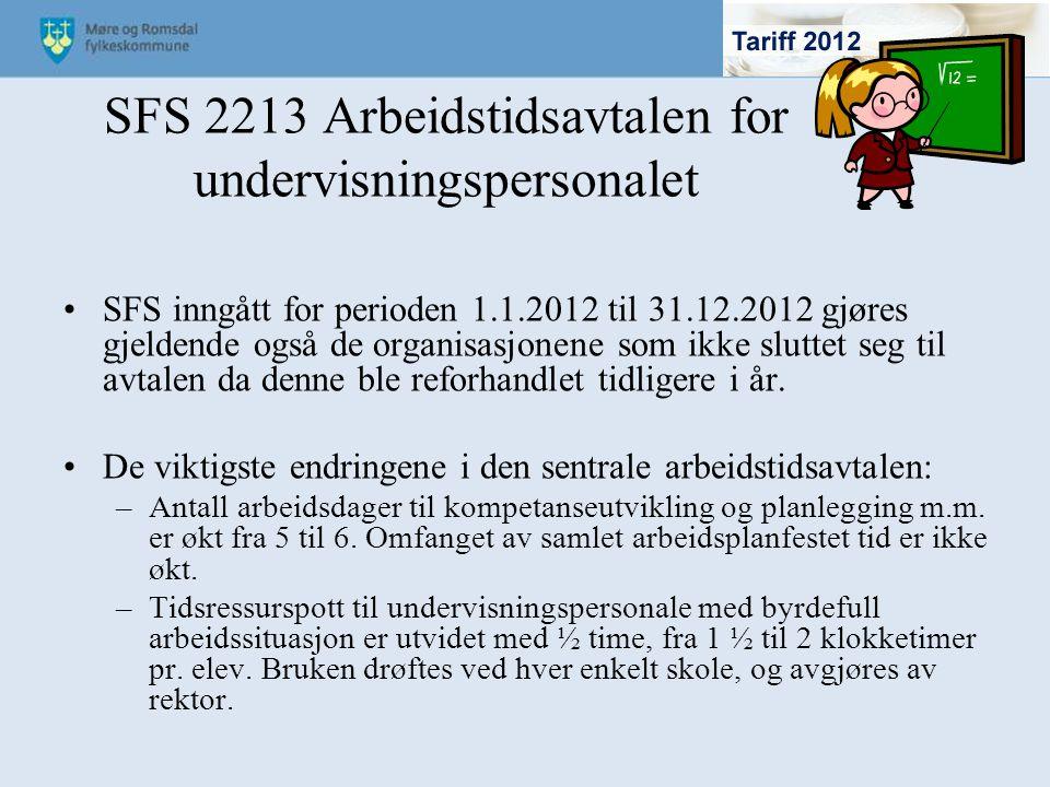 SFS 2213 Arbeidstidsavtalen for undervisningspersonalet
