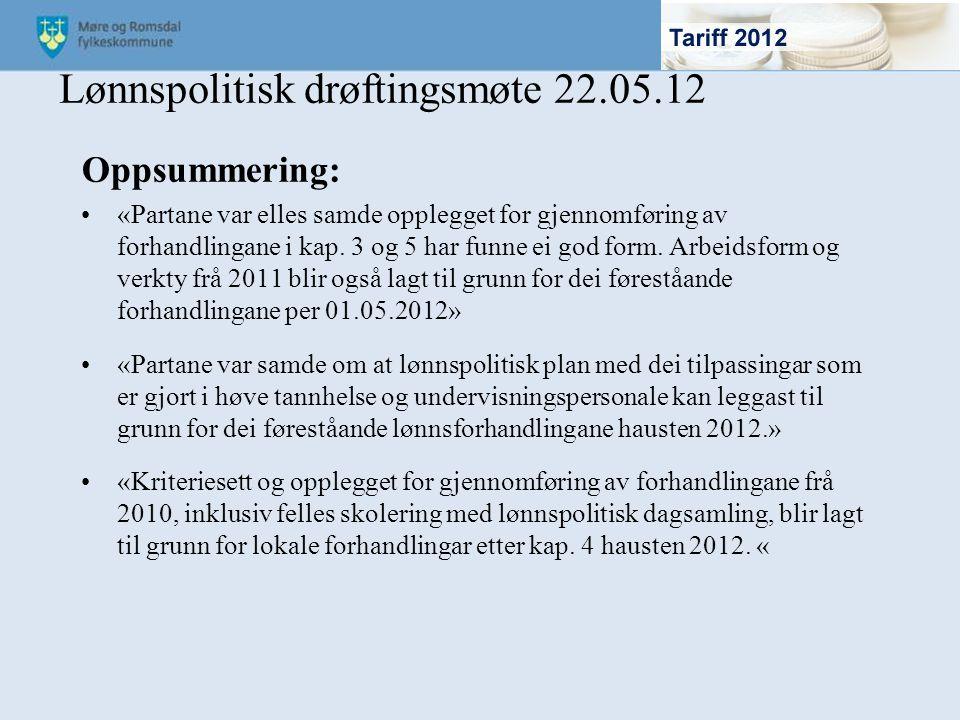 Lønnspolitisk drøftingsmøte 22.05.12
