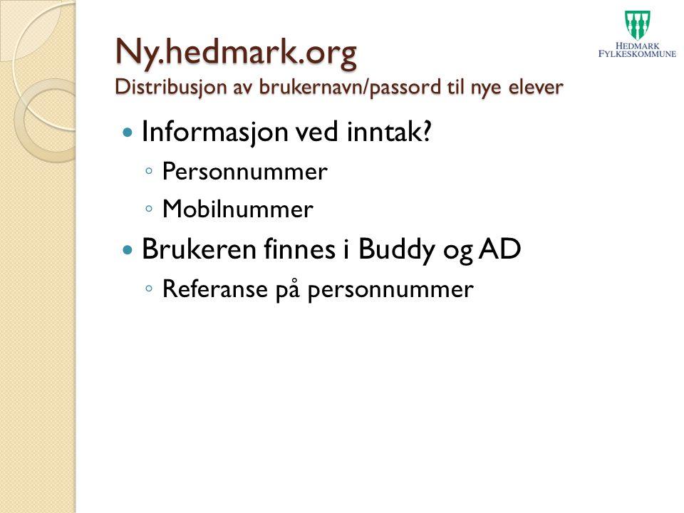Ny.hedmark.org Distribusjon av brukernavn/passord til nye elever
