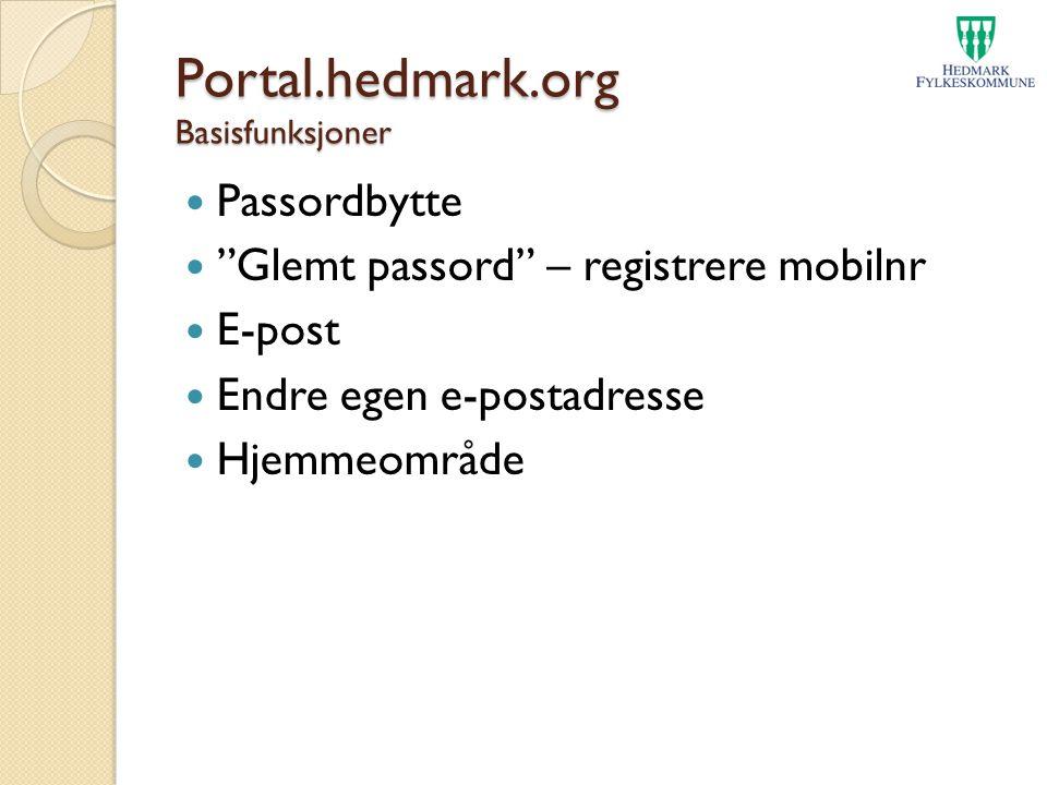 Portal.hedmark.org Basisfunksjoner