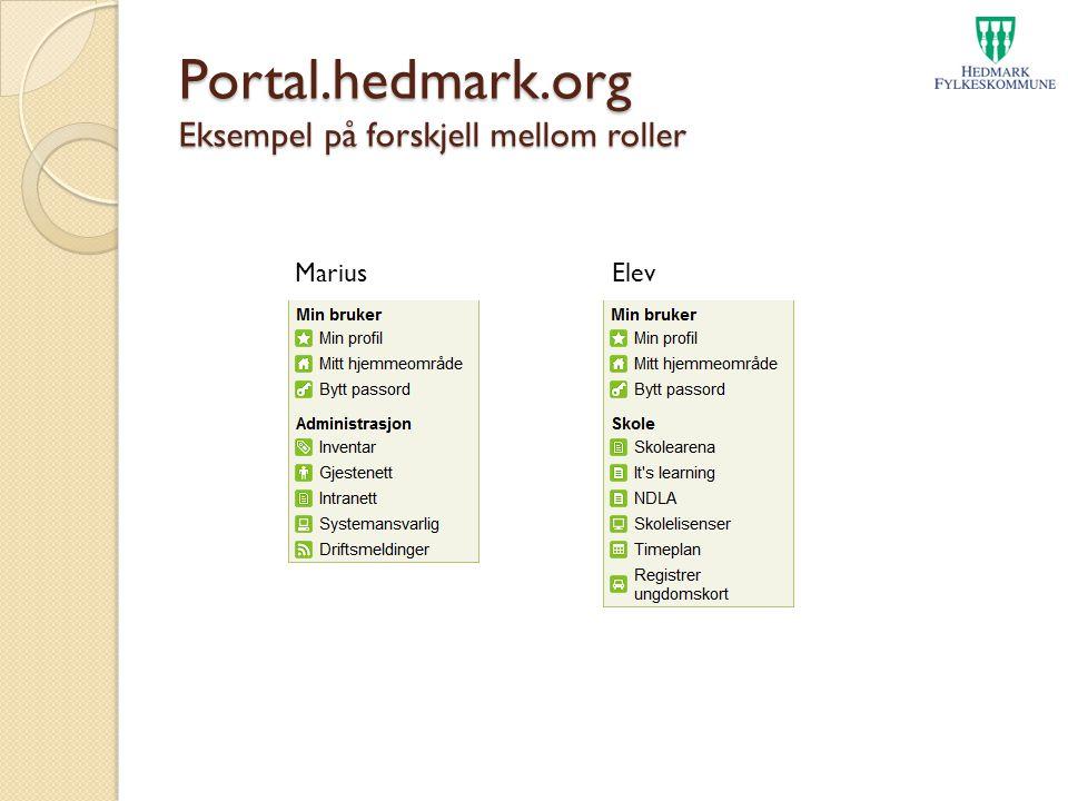 Portal.hedmark.org Eksempel på forskjell mellom roller