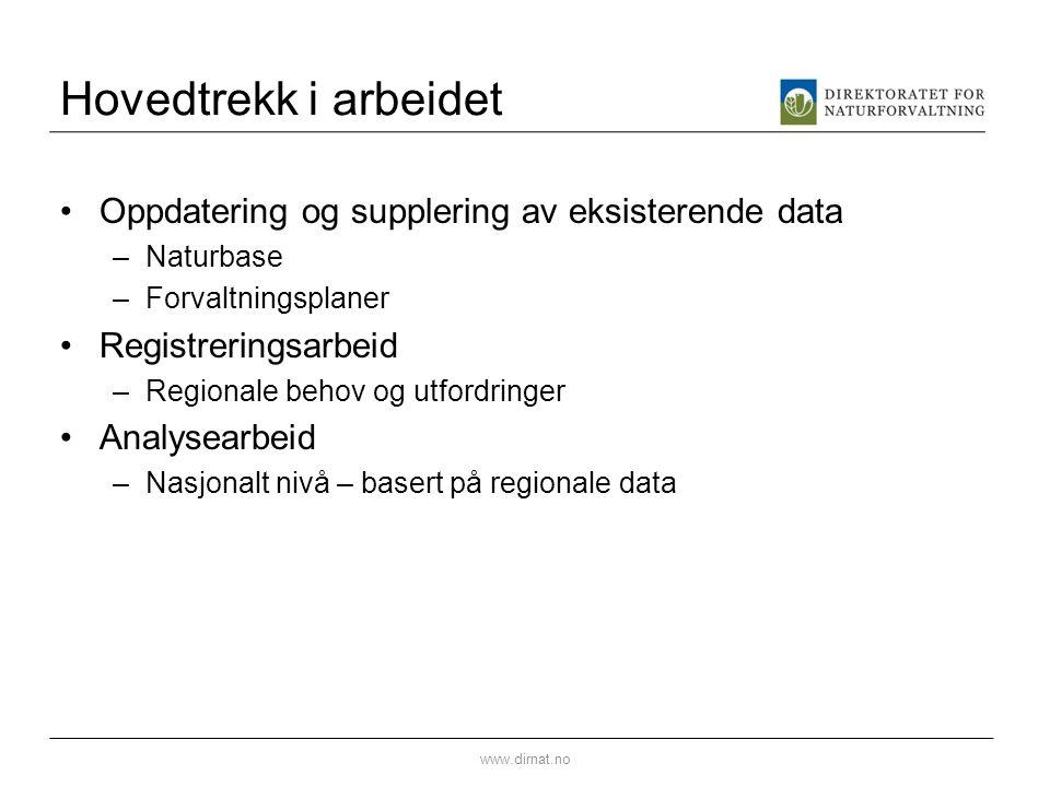 Hovedtrekk i arbeidet Oppdatering og supplering av eksisterende data