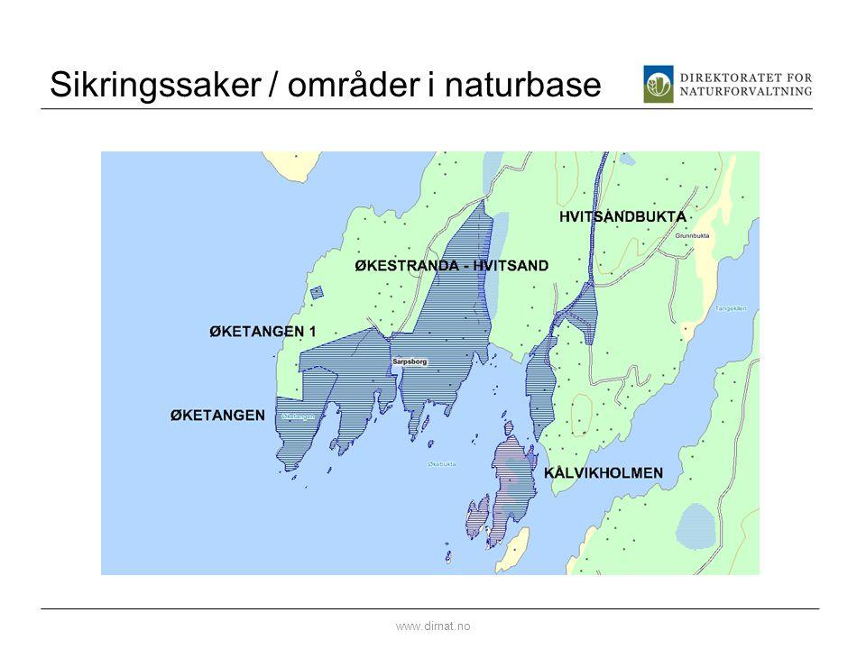 Sikringssaker / områder i naturbase