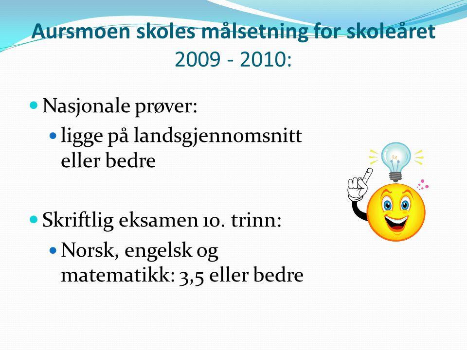 Aursmoen skoles målsetning for skoleåret 2009 - 2010:
