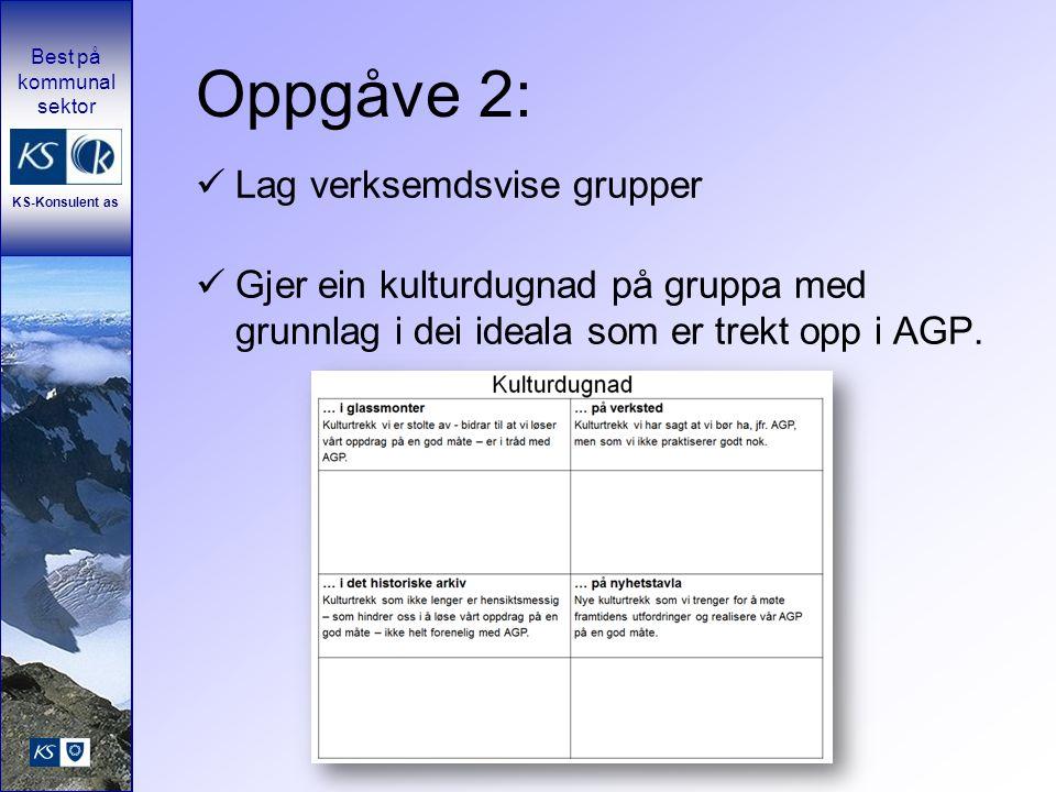 Oppgåve 2: Lag verksemdsvise grupper