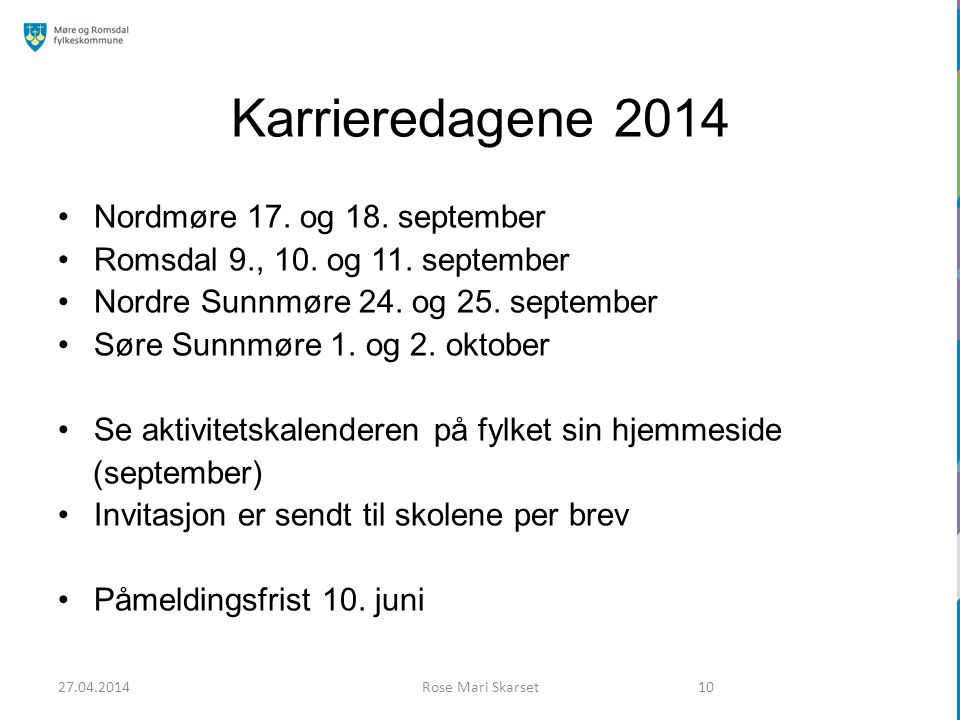 Karrieredagene 2014 Nordmøre 17. og 18. september