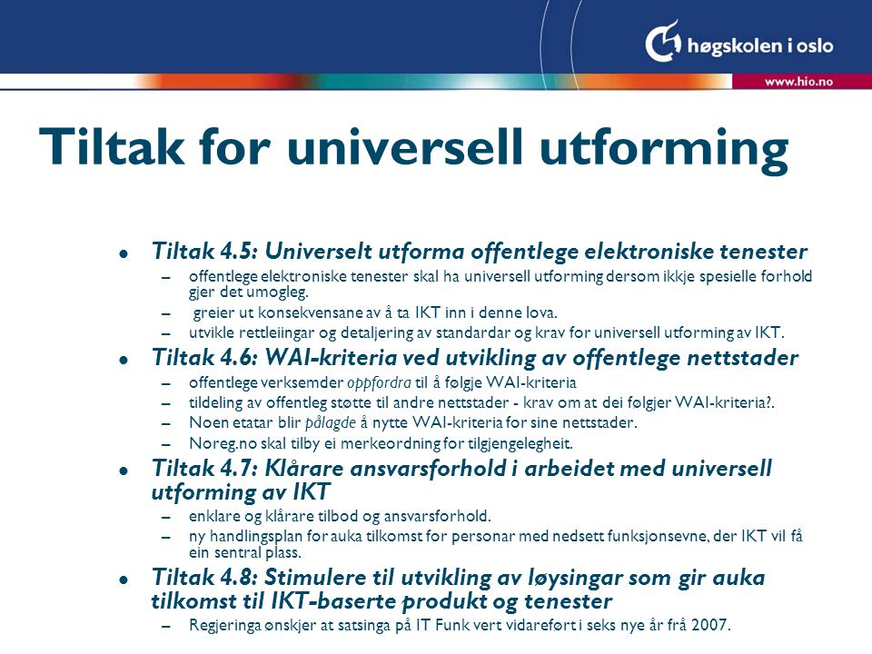 Tiltak for universell utforming