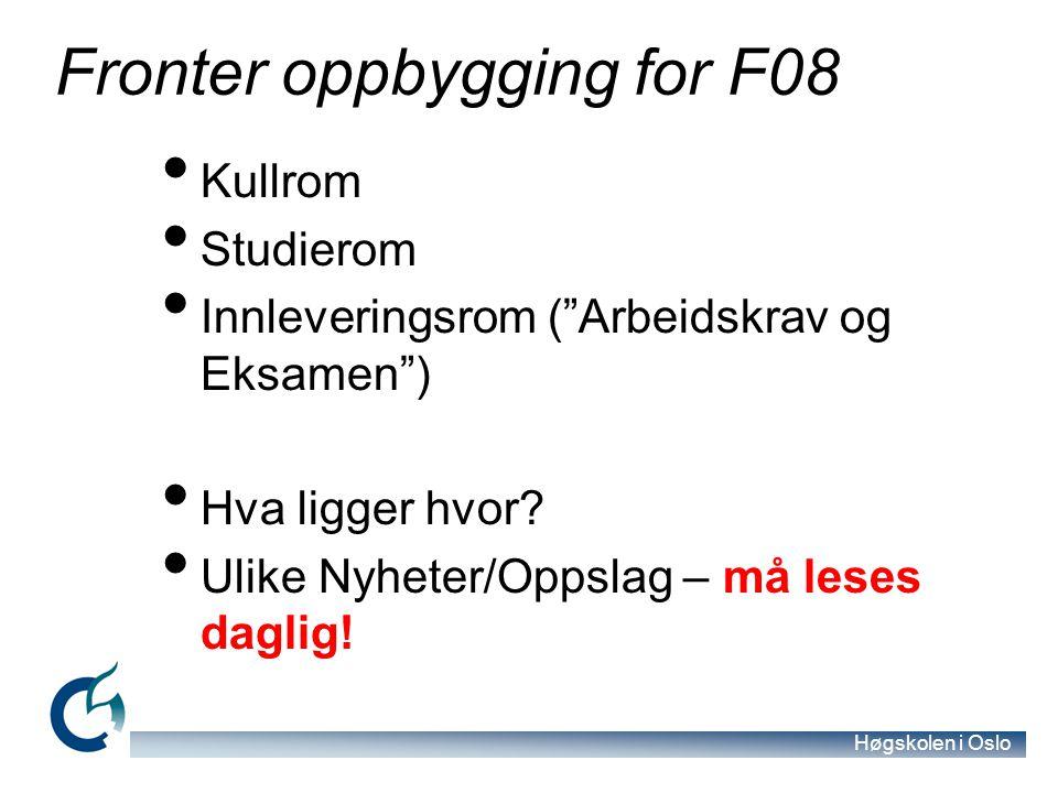 Fronter oppbygging for F08