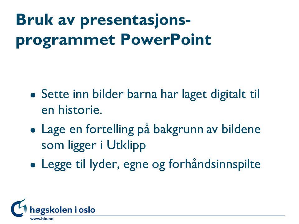 Bruk av presentasjons-programmet PowerPoint