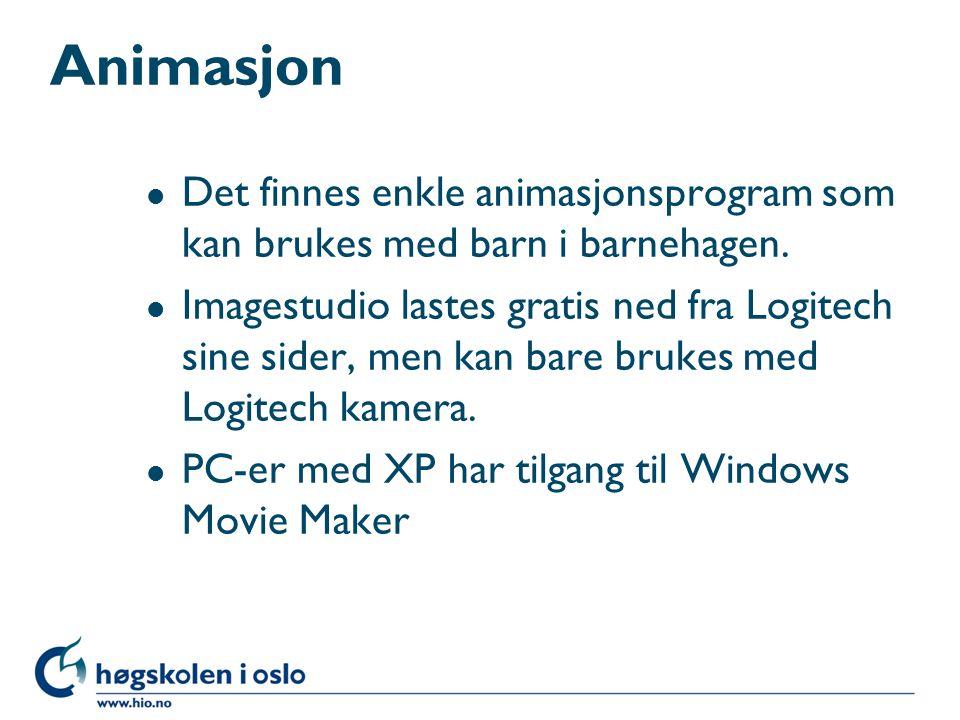 Animasjon Det finnes enkle animasjonsprogram som kan brukes med barn i barnehagen.
