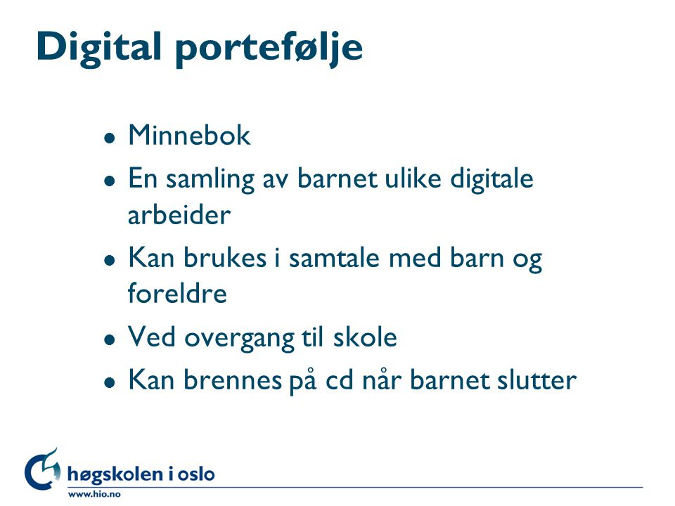 Digital portefølje Minnebok