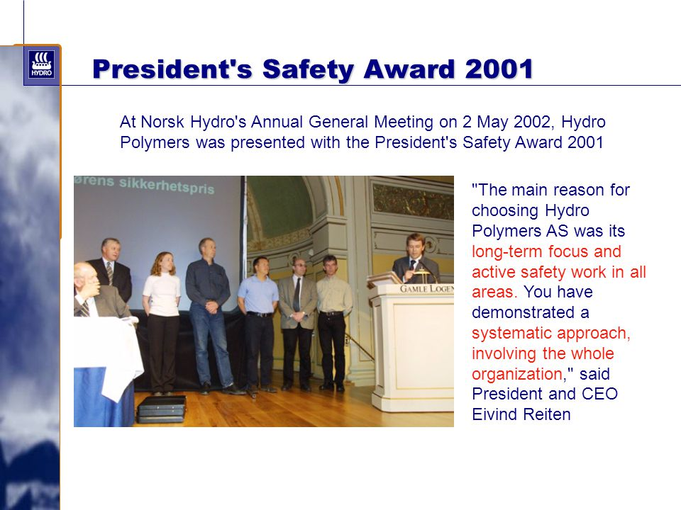 President s Safety Award 2001