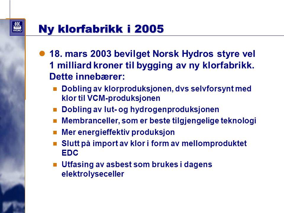 Ny klorfabrikk i 2005 18. mars 2003 bevilget Norsk Hydros styre vel 1 milliard kroner til bygging av ny klorfabrikk. Dette innebærer: