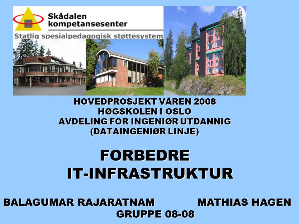 HOVEDPROSJEKT VÅREN 2008 HØGSKOLEN I OSLO AVDELING FOR INGENIØR UTDANNIG (DATAINGENIØR LINJE) FORBEDRE IT-INFRASTRUKTUR