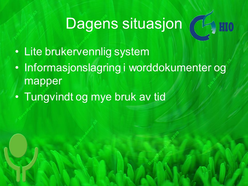 Dagens situasjon Lite brukervennlig system