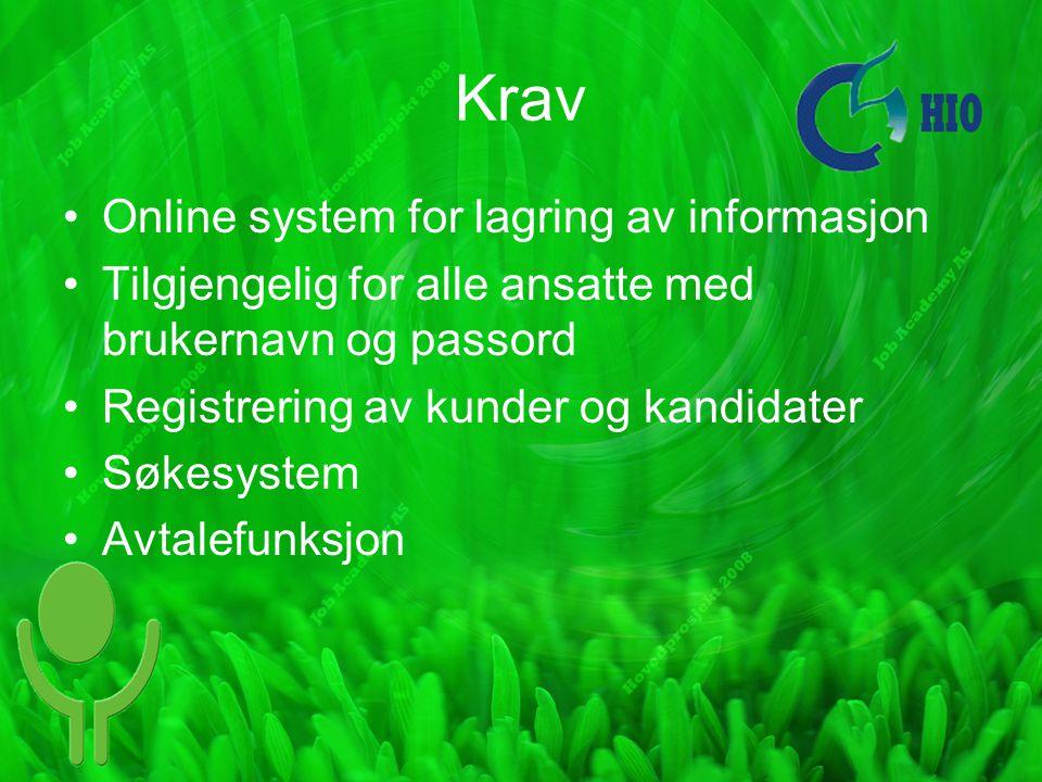 Krav Online system for lagring av informasjon