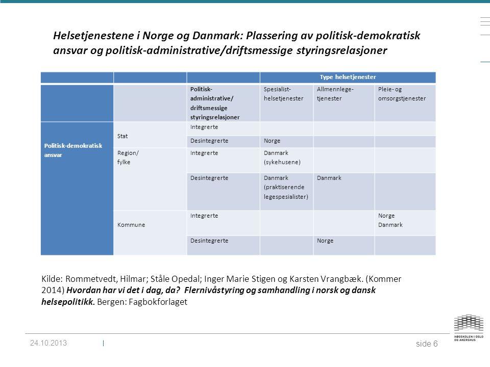 Helsetjenestene i Norge og Danmark: Plassering av politisk-demokratisk ansvar og politisk-administrative/driftsmessige styringsrelasjoner