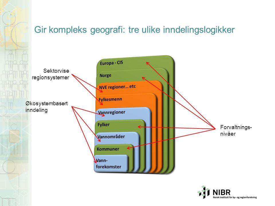 Gir kompleks geografi: tre ulike inndelingslogikker