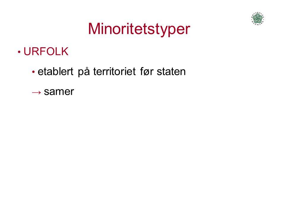 Minoritetstyper URFOLK • etablert på territoriet før staten → samer