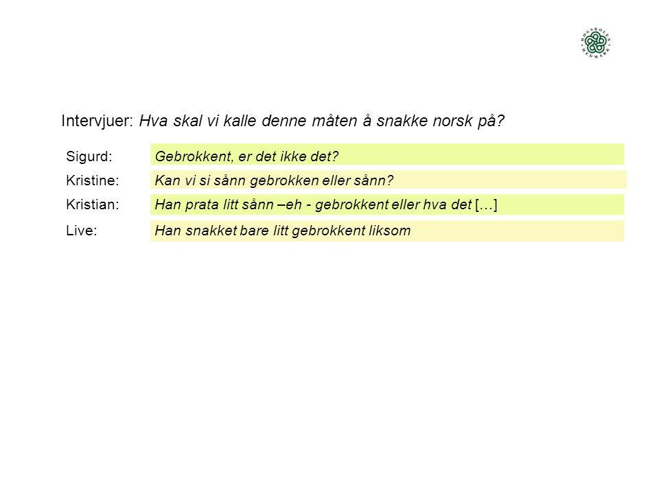 Intervjuer: Hva skal vi kalle denne måten å snakke norsk på