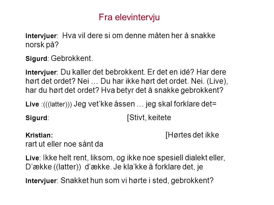 Fra elevintervju Intervjuer: Hva vil dere si om denne måten her å snakke norsk på Sigurd: Gebrokkent.