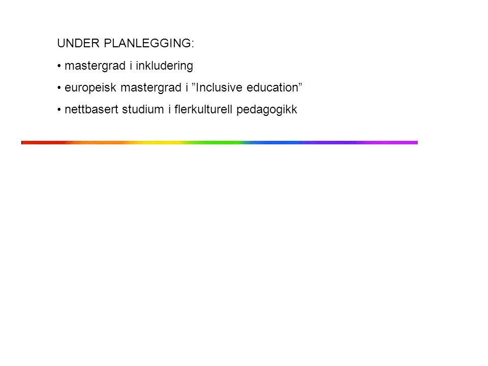 UNDER PLANLEGGING: mastergrad i inkludering.