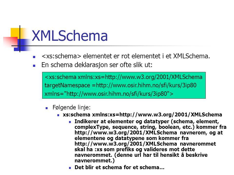 XMLSchema <xs:schema> elementet er rot elementet i et XMLSchema.