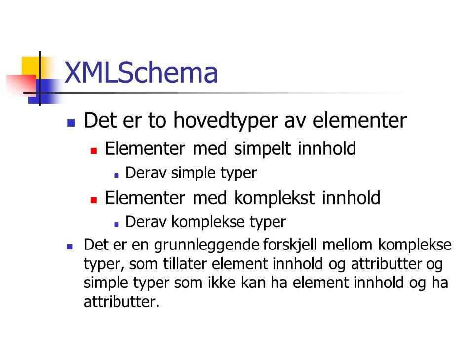 XMLSchema Det er to hovedtyper av elementer