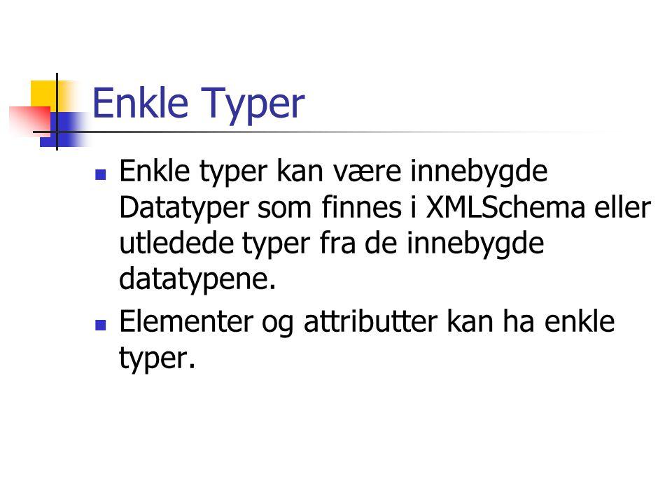 Enkle Typer Enkle typer kan være innebygde Datatyper som finnes i XMLSchema eller utledede typer fra de innebygde datatypene.
