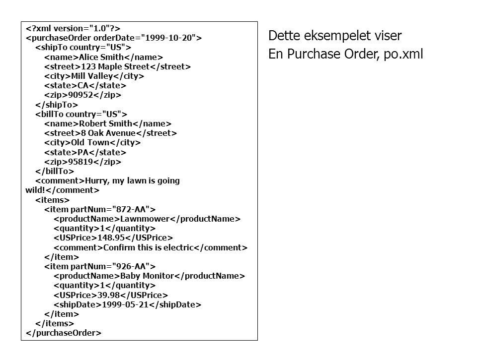 Dette eksempelet viser En Purchase Order, po.xml