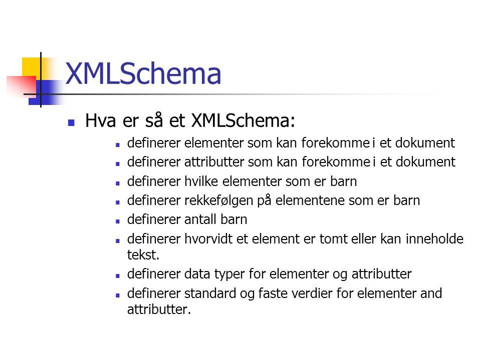 XMLSchema Hva er så et XMLSchema: