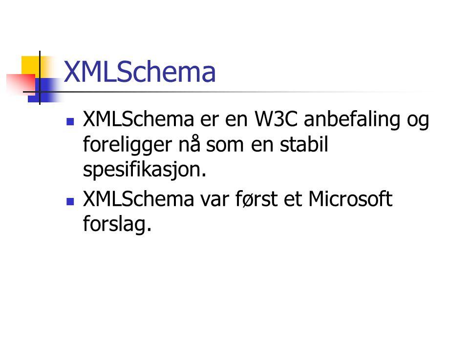 XMLSchema XMLSchema er en W3C anbefaling og foreligger nå som en stabil spesifikasjon.