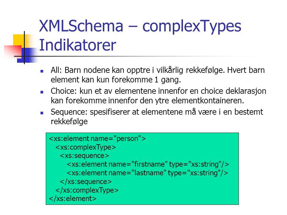 XMLSchema – complexTypes Indikatorer