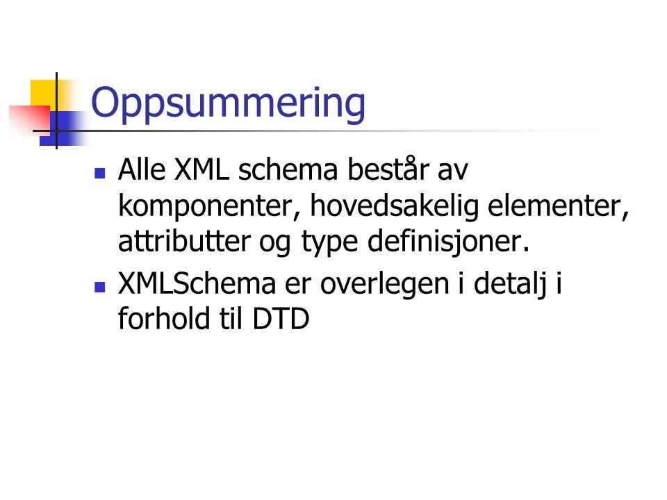 Oppsummering Alle XML schema består av komponenter, hovedsakelig elementer, attributter og type definisjoner.