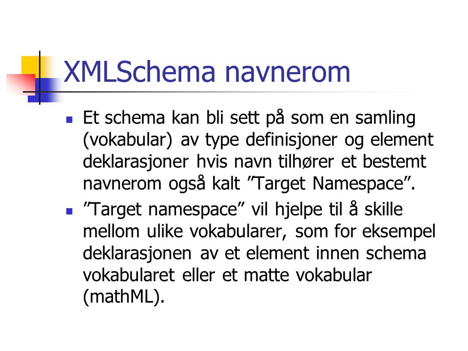XMLSchema navnerom