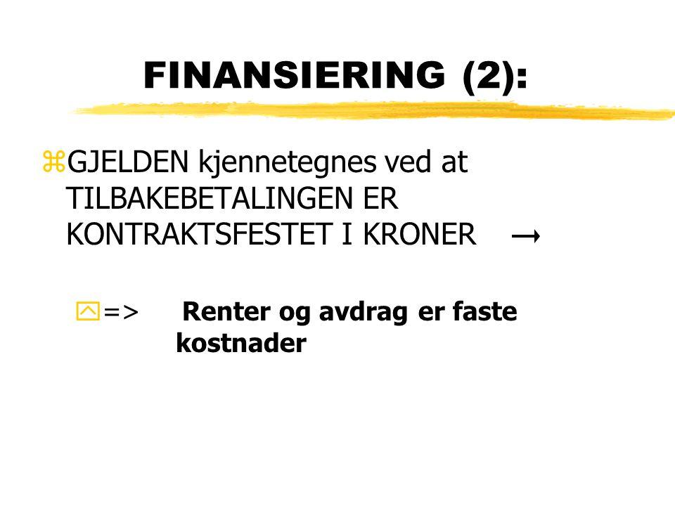 FINANSIERING (2): GJELDEN kjennetegnes ved at TILBAKEBETALINGEN ER KONTRAKTSFESTET I KRONER.