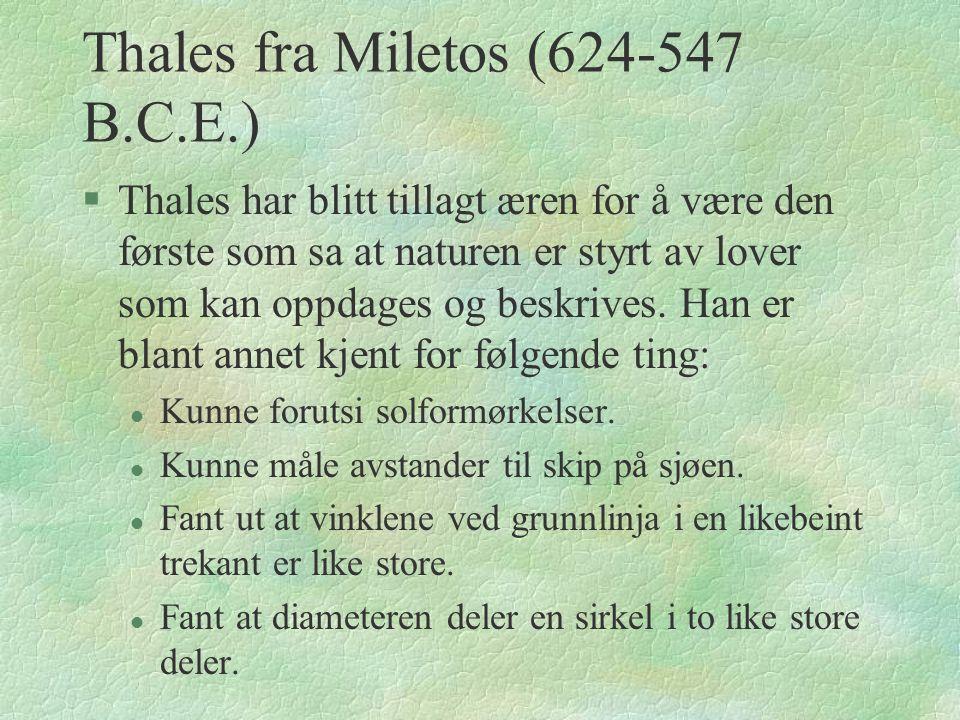 Thales fra Miletos (624-547 B.C.E.)