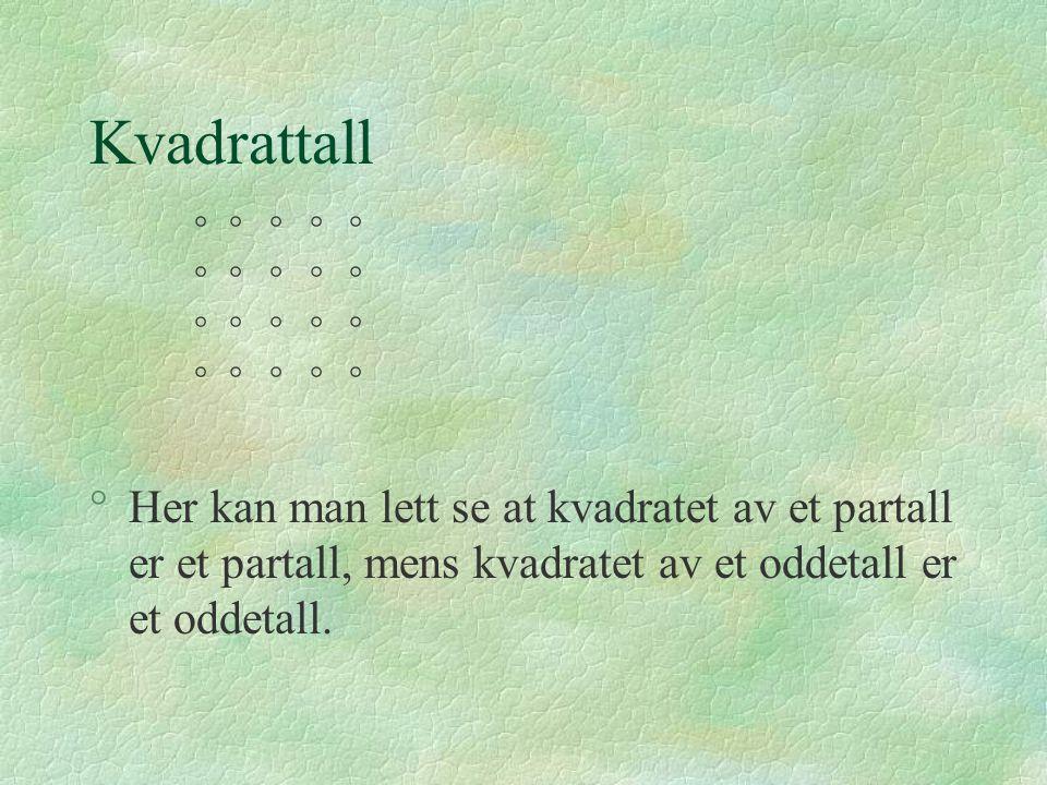 Kvadrattall     Her kan man lett se at kvadratet av et partall er et partall, mens kvadratet av et oddetall er et oddetall.