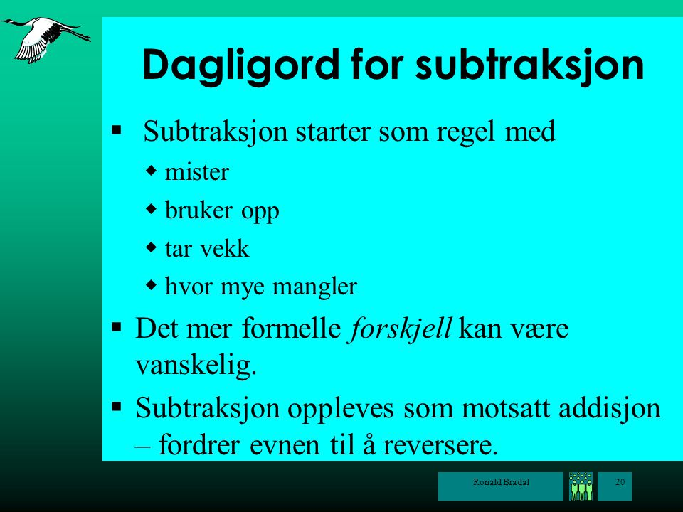 Dagligord for subtraksjon