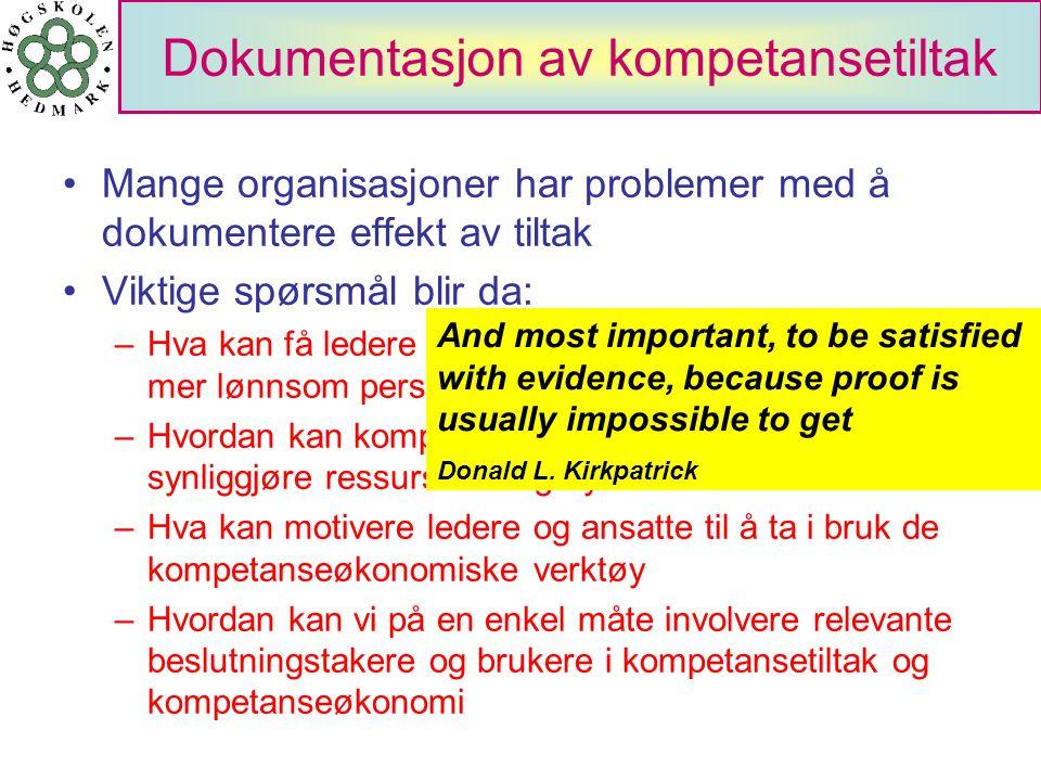 Dokumentasjon av kompetansetiltak